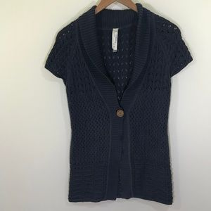 Fossil Navy Blue Short Sleeve Knit Sweater Size M
